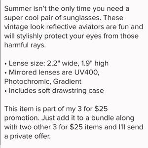 Inspired Closet Accessories - 3 FOR $25 • Vintage Mirrored Aviator Sunglasses